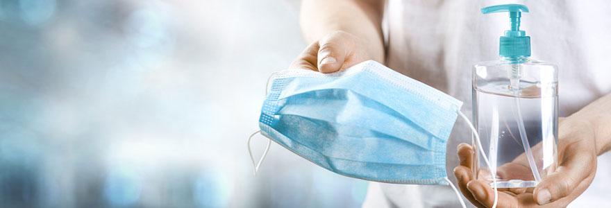Masque chirurgical bleu et gel